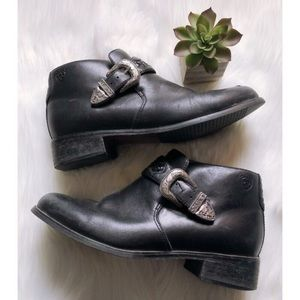 Ariat Black Leather Western Buckle Ankle Boots